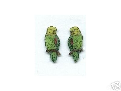 AMAZON PARROT BIRD EARRINGS 3 SIZES AND PIN SET