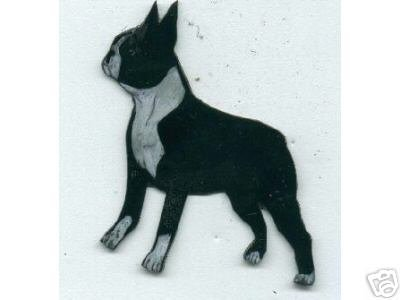 BOSTON TERRIER DOG PIN/BROOCH  PENDANT AND EARRING SET