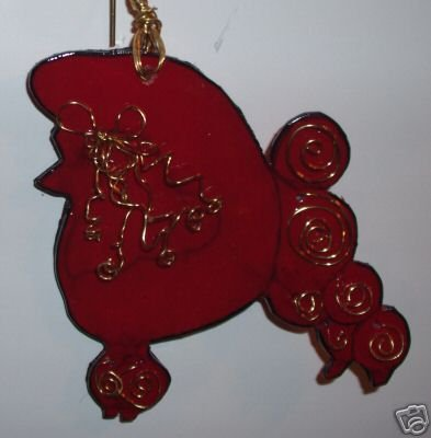 POODLE SHOW DOG RED/GOLD WIRE  HANDPAINTED NECKLACE