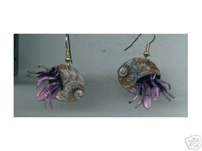 HAPPY HERMIT CRABS HANDPAINTED EARRINGS CRAB