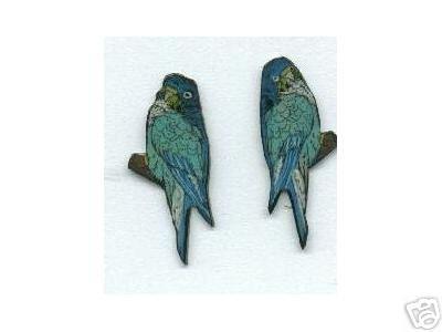 PARAKEET PARROT  BIRD  HAND PAINTED EARRINGS JEWELRY
