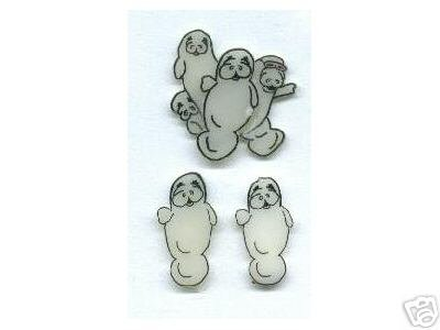 HAPPY MANATEE EARRINGS AND PIN SET TOO CUTE ART