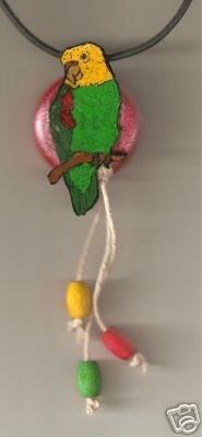 AMAZON BIRD FUNKEY NECKLACE HANDPAINTED HANDCRAFTED ART