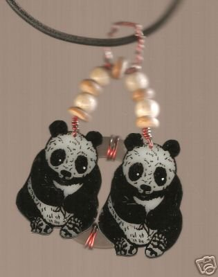 PANDA  WIRE WRAPPED HANDPAINTED  ZOO CHINA NECKLACE