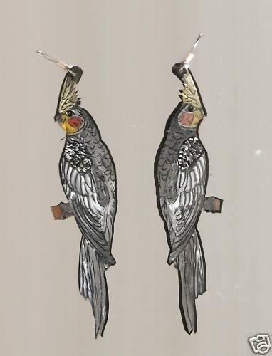 COCKATIEL PARROT BIRD EARRINGS AND PIN/BROOCH SET
