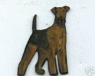 AIREDALE TERRIER DOG PIN BROOCH AND EARRINGS SET
