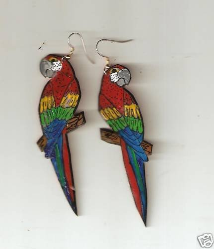 SCARLET MACAW PARROT BIRD EARRINGS AND PIN/BROOCH SET