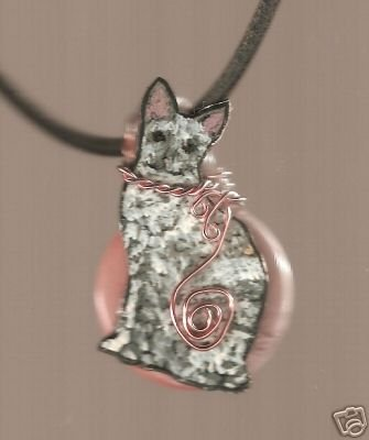 WIRE WRAPPED CAT HANDPAINTED  CORAL PEACH  NECKLACE