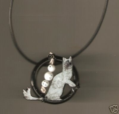 CAT  PENDANT NECKLACE HANDPAINTED WIRE WRAPPED PRETTY