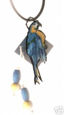 BLUE & GOLD MACAW BIRD PARROT HANDPAINTED NECKLACE