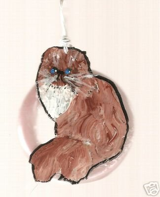 CAT KITTY  WIRE  HANDPAINTED NECKLACE CRITTERS ANIMALS