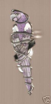 MACAW BIRD RING  HANDPAINTED  JEWELRY LAVENDER PURPLE