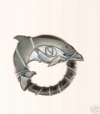 DOLPHIN FISH MARINE FUN  HANDPAINTED RING WRAPPED