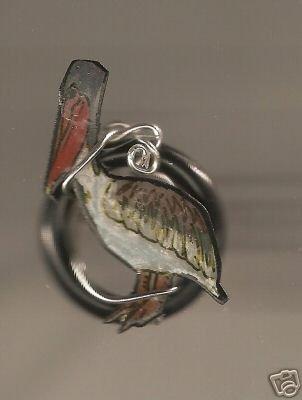 PELICAN BIRD RING  HANDPAINTED FUN JEWELRY MARINE
