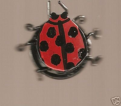 LADYBUG BUG RING INSECT BEATLE HANDPAINTED WIREWRAPPED