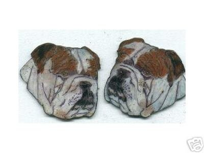 BULLDOG DOG PUPPY HANDPAINTED EARRINGS ALL COLORS