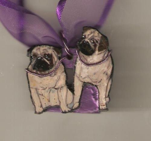 PUG NECKLACE PENDANT DOG HANDPAINTED WIRE WORK PRETTY