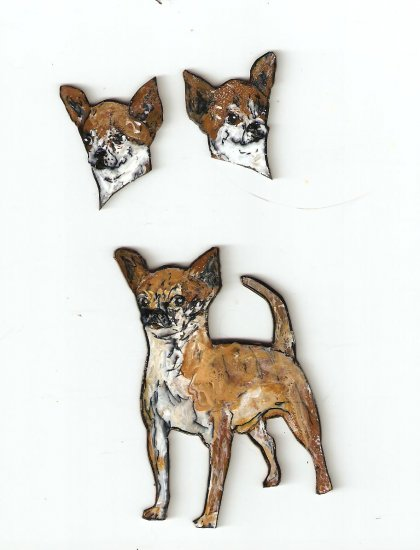 CHIHUAHUA DOG  EARRINGS AND PIN  BROOCH SET HANDPAINTED