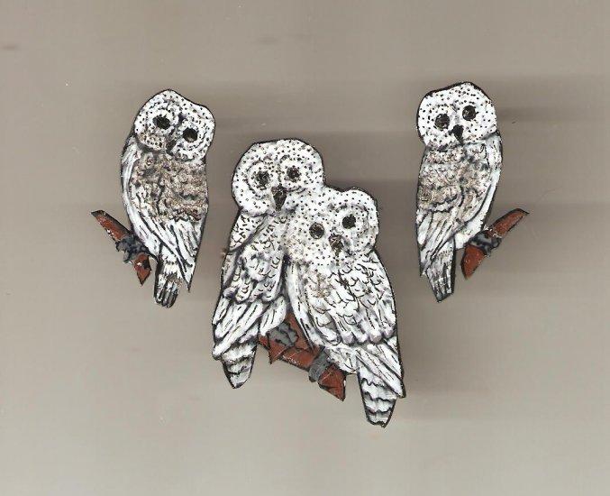SNOWY OWL EARRINGS PIN SET HANDPAINTED