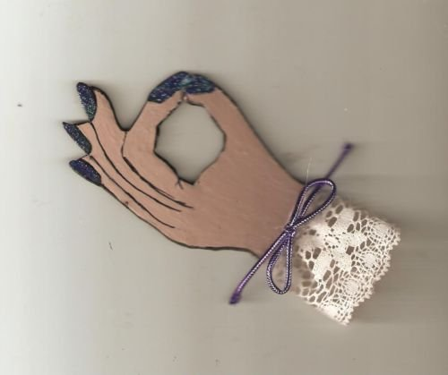YOGA  OM INSPIRED HAND POSITION MAGNET PIN HAND PAINTED VERY  PRETTY GIFT