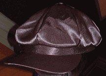 OLIVE SATIN NEWSBOY CAP