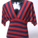 Red & Navy Sexy Striped Top