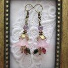 Handmade Plum Pink/Purple Flower Earrings, Free U.S. Shipping!