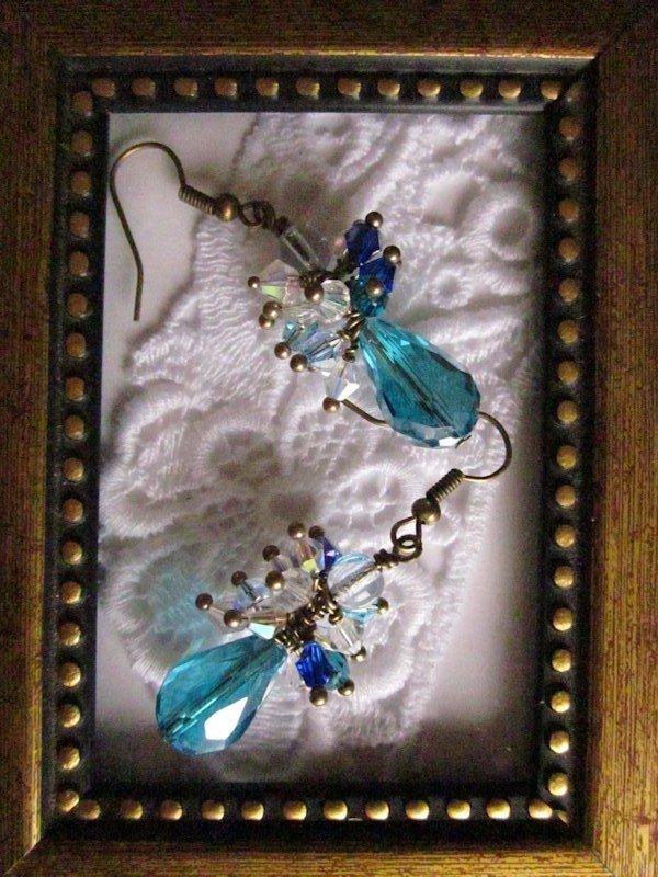 Handmade Light Blue Drop & Crystal Earrings, Free Shipping!