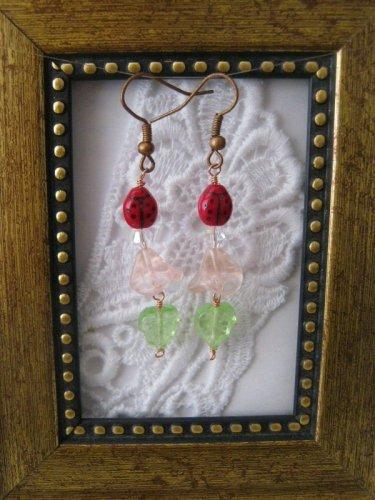 Light Pink Flower & Lady Bug Earrings, Free Shipping!