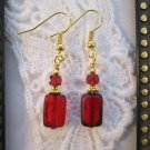 Rectangle Red Picasso Czech Glass Gold Tone Earrings