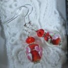 Handmade Red & Pink Flower Lamp Work Glass Bead Silver Tone Earrings