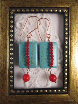 Handmade Red Coral Bead and Rectangle Turquoise Earrings