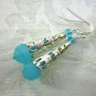 Handmade Powder Blue Faceted Glass and Filigree Silver Cone Earrings