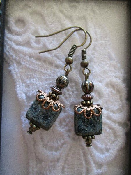 Handmade Picasso Gray Square Glass Earrings, Free Shipping!