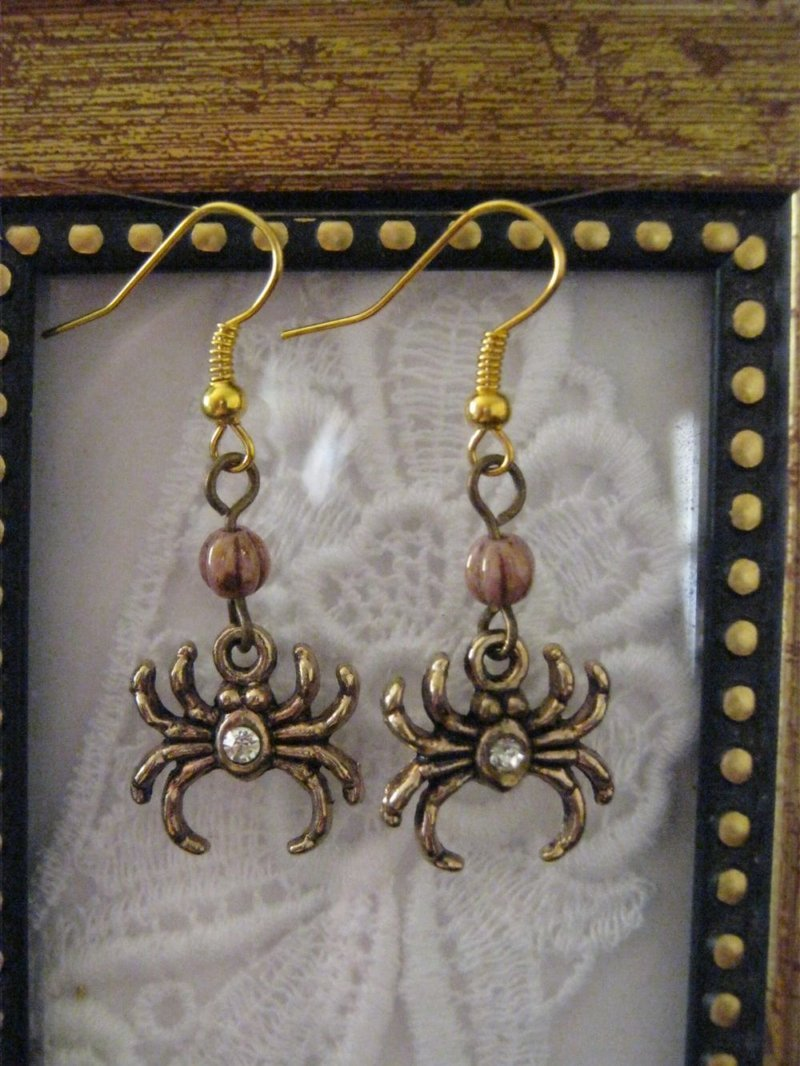 Handmade Sparkly Spider and Czech Bead Earrings, Free Shipping!