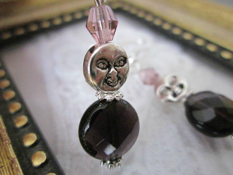 Handmade Moon Face Dark Purple Bead Earrings, Free Ship!
