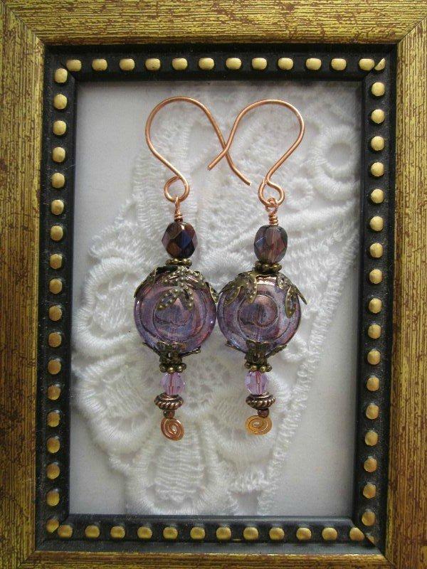 Light Amethyst Swirl Glass Earrings, Free Shipping!