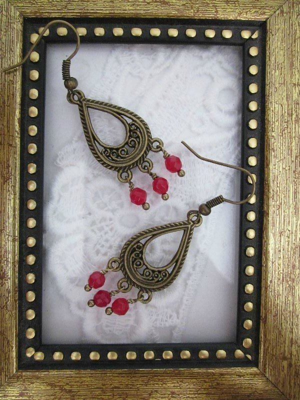 Handmade Faceted Ruby Chandelier Earrings, Free Shipping!