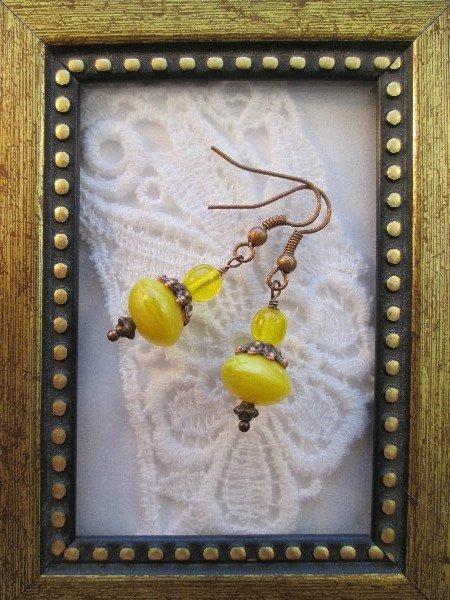 Lemon Yellow Czech Glass Earrings, Free Shipping!