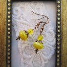 Lemon Yellow Czech Glass Earrings, Free Shipping!
