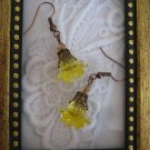 Yellow Acrylic Flower Copper Tone Earrings, Free Ship!