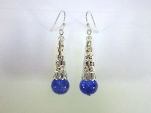 Handmade Blue Purple Crackled Glass and Filigree Silver Cone Earrings