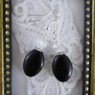 Handmade Clear Crystal and Black Oval Glass Earrings, Free U.S. Ship!