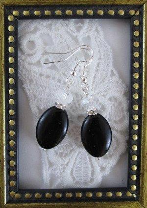 Handmade Clear Crystal and Black Oval Glass Earrings, Free U.S. Ship!
