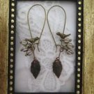 Handmade Bird and Grey Berry Rustic Bronze Tone Hoop Earrings, Free Ship!
