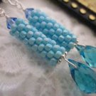 Handmade Turquoise Blue Peyote Stitch Earrings