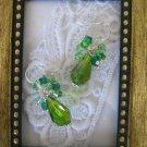 Silver Tone Green Confetti Earrings, Free Ship!