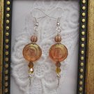 Handmade Picasso Lite Amber Swirl Earrings, Free U.S. Shipping!