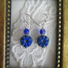 Blue Carved Round Czech Glass Earrings, Free U.S. Ship
