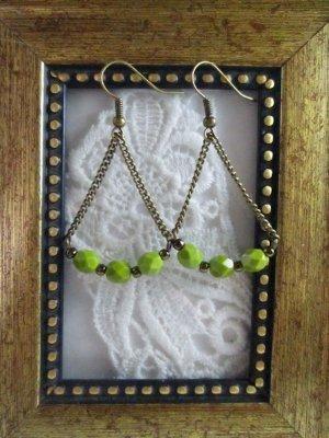 Handmade Green Pea Czech Glass Antique Bronze Tone Earrings
